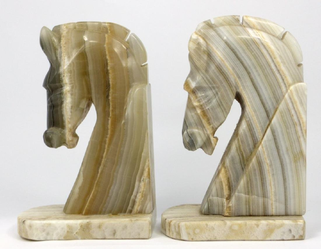 PAIR ONYX HORSE HEAD BOOKENDS