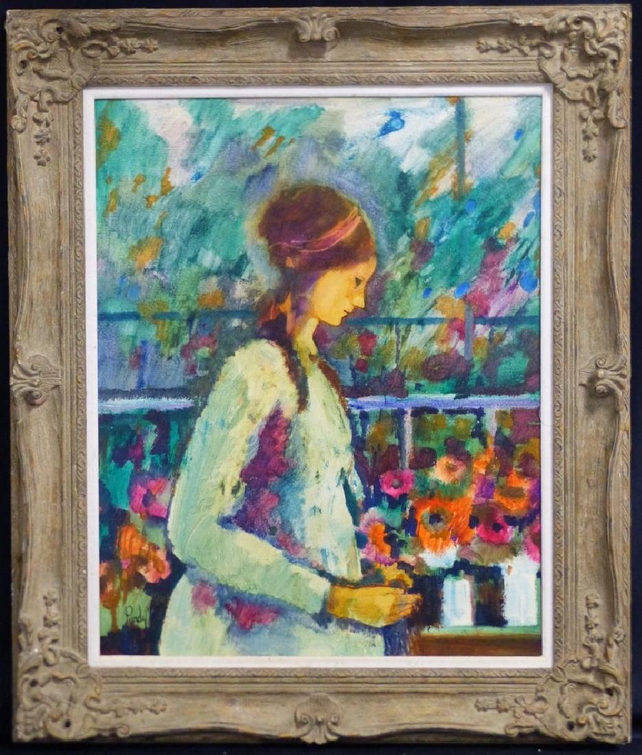 DONALD PURDY OIL PAINTING ON BOARD LADY w FLOWERS