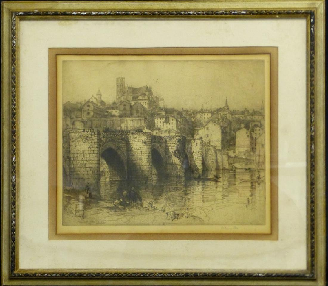 HEDLEY FITTON 'PONT ST ETIENNE LIMOGES' ETCHING