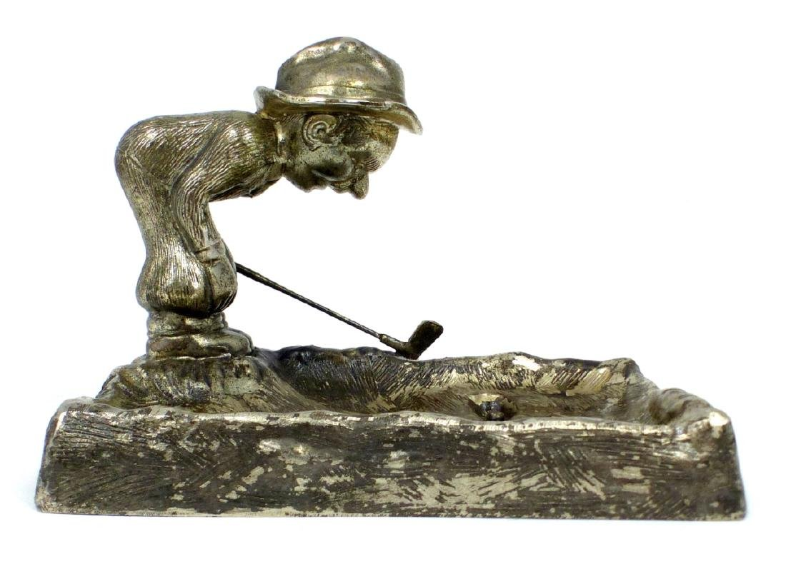 AMERICAN SILVER PLATED GOLFER ASHTRAY