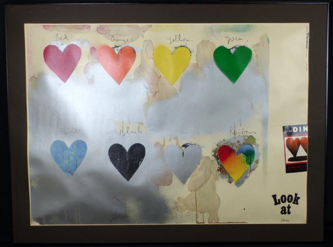 JIM DINE EIGHT HEARTS LITHOGRAPH