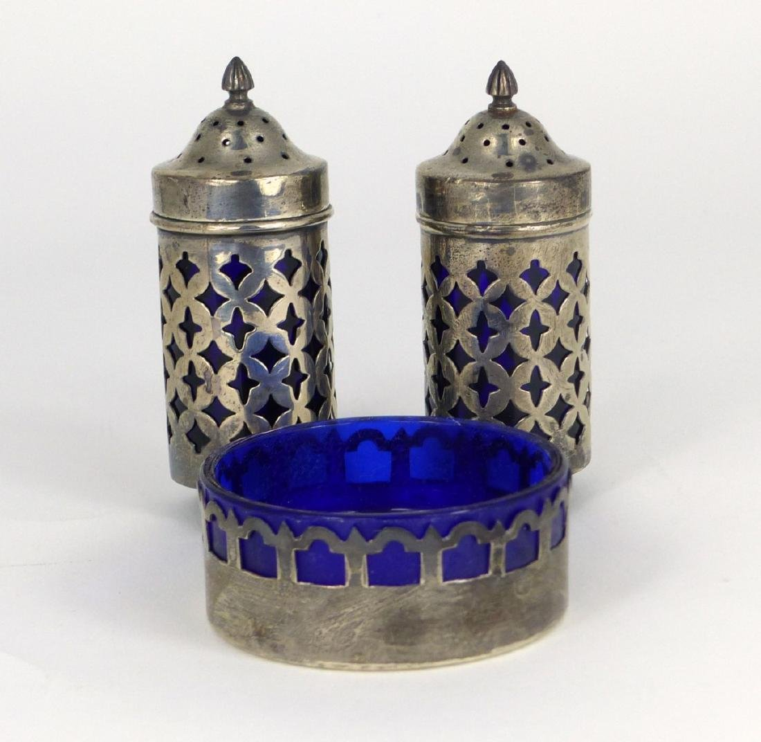 3pc STERLING SILVER & COBALT GLASS SHAKERS & SALT
