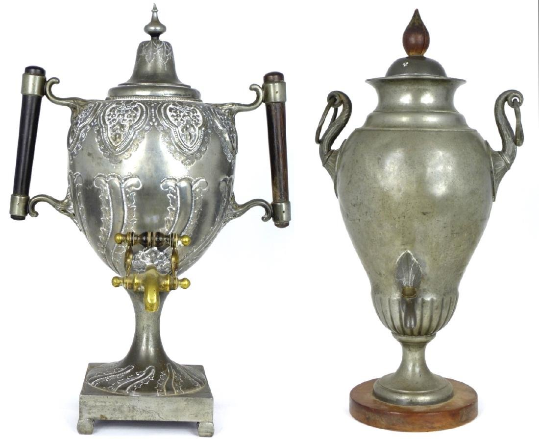 2pc PEWTER HOT WATER URNS NEOCLASSICAL & ROCOCO