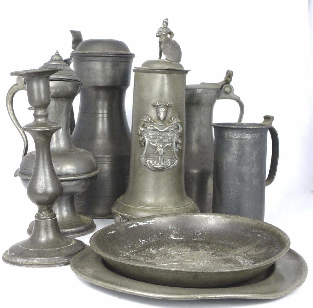8pc CONTINENTAL & ENGLISH PEWTER TABLE ITEMS