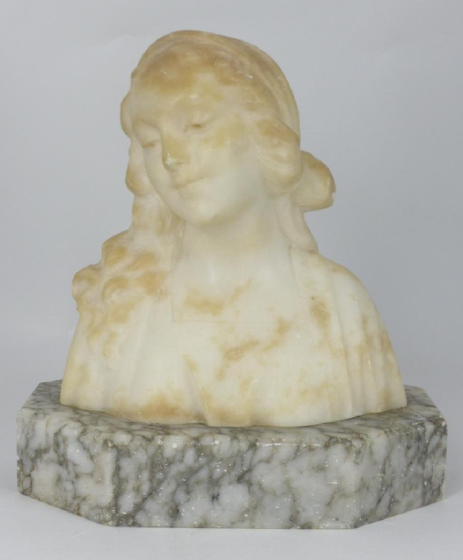 ALABASTER BUST OF YOUNG MAIDEN