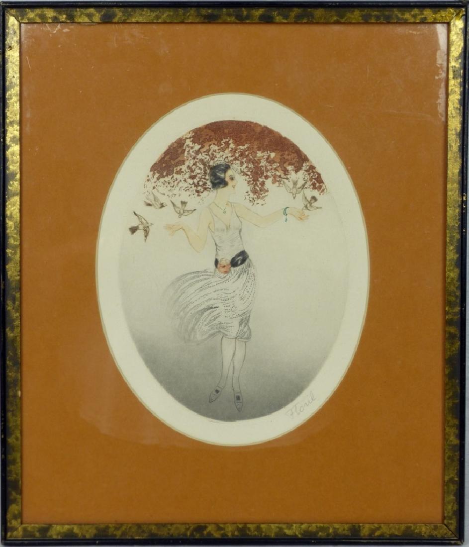 FLORIL ART DECO ETCHING LADY w BIRDS