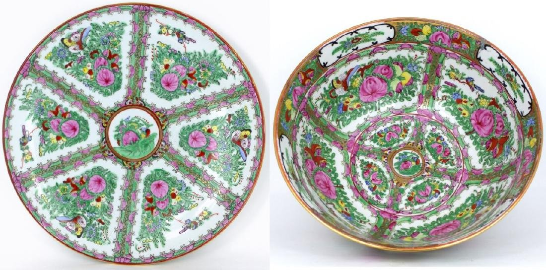 2pc LARGE CHINESE ROSE MEDALLION BOWL & CHARGER