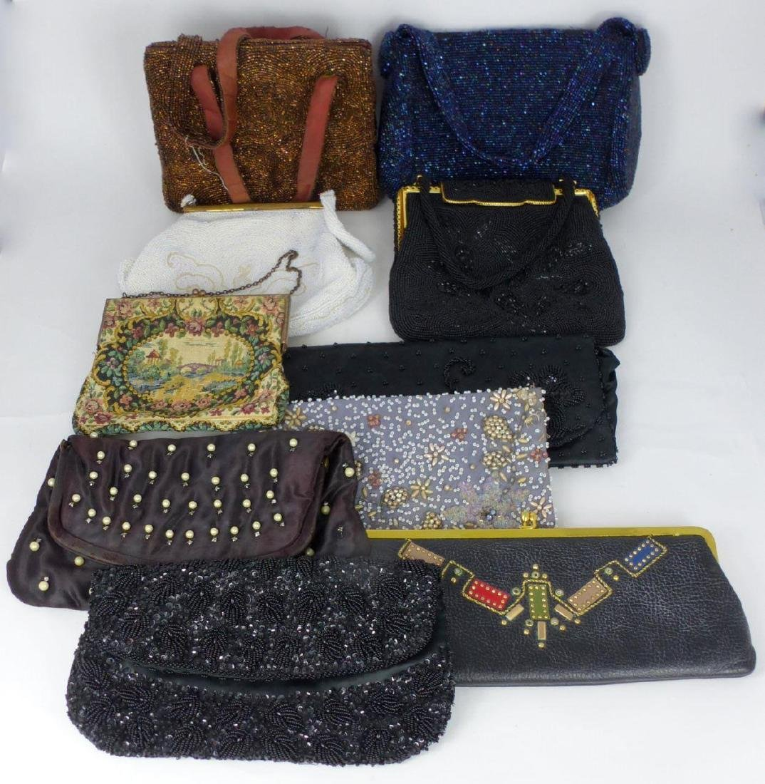 10pc VINTAGE LADIES PURSES & HANDBAGS