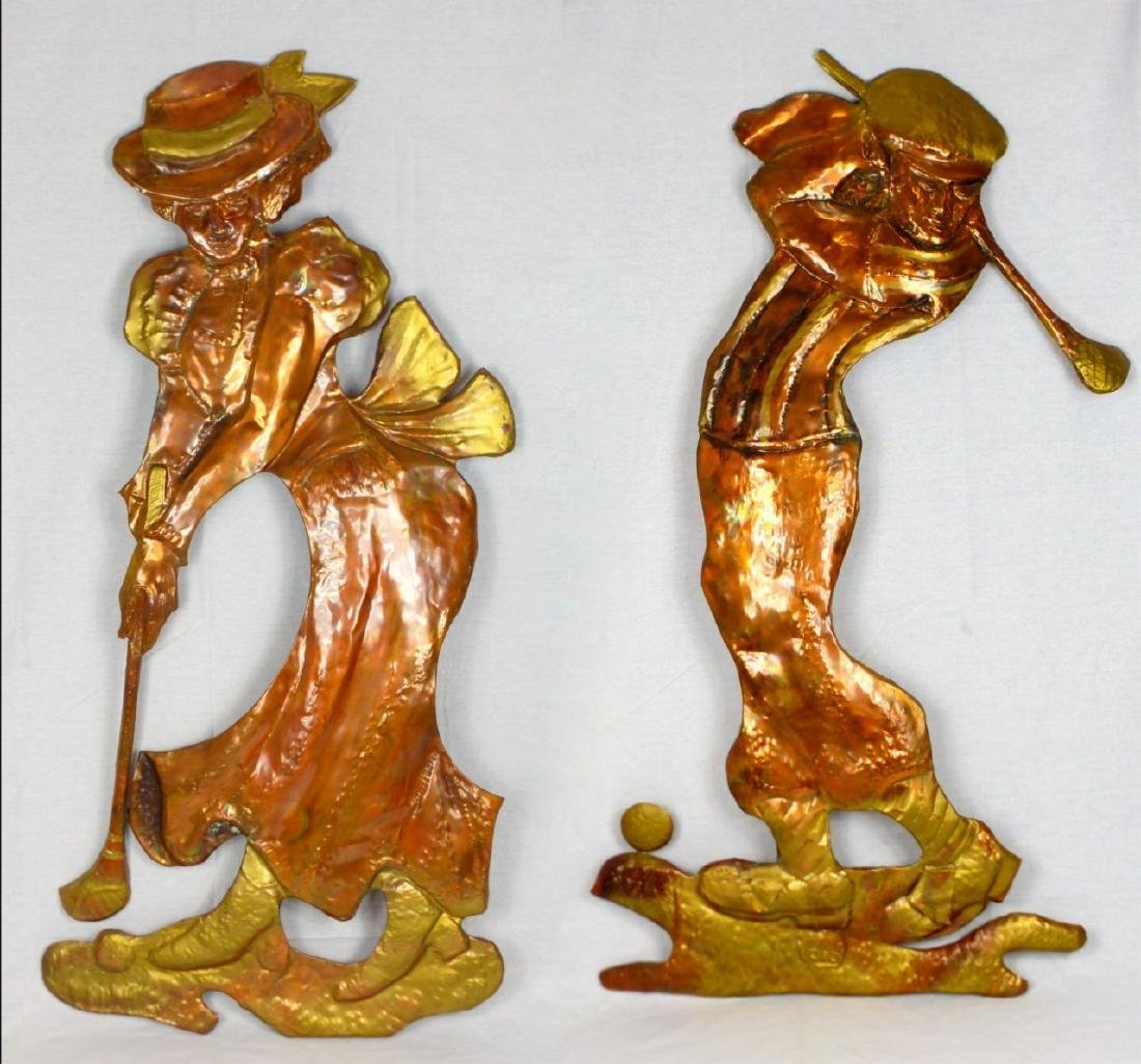 PR COPPER WALL HANGINGS OF GOLFERS