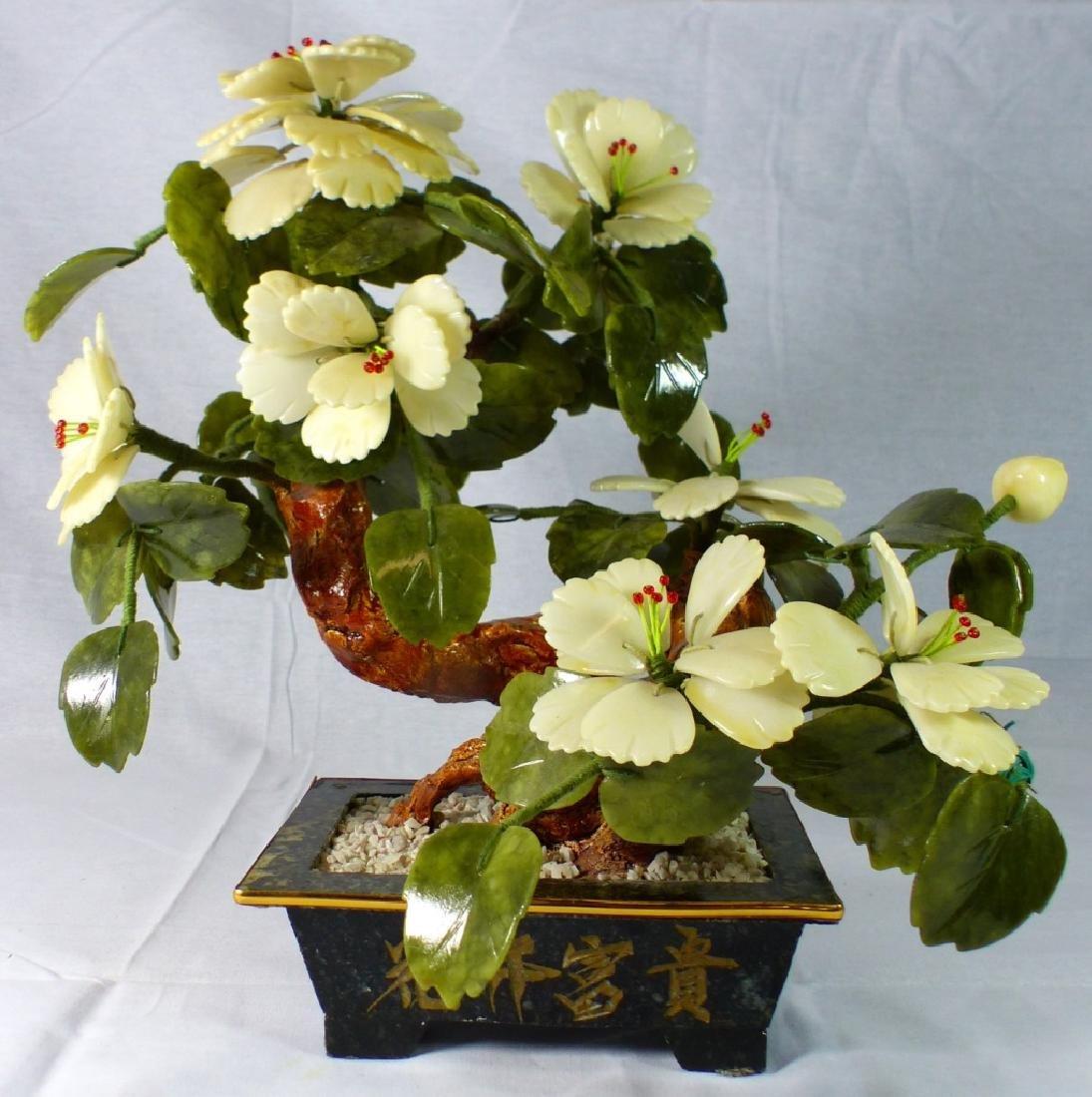 CHINESE HARDSTONE BONSAI TREE IN PLANTER
