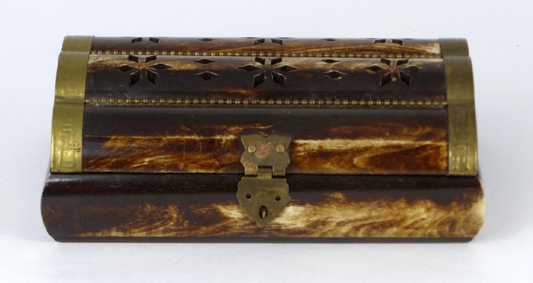 VINTAGE BONE & BRASS TRINKET BOX