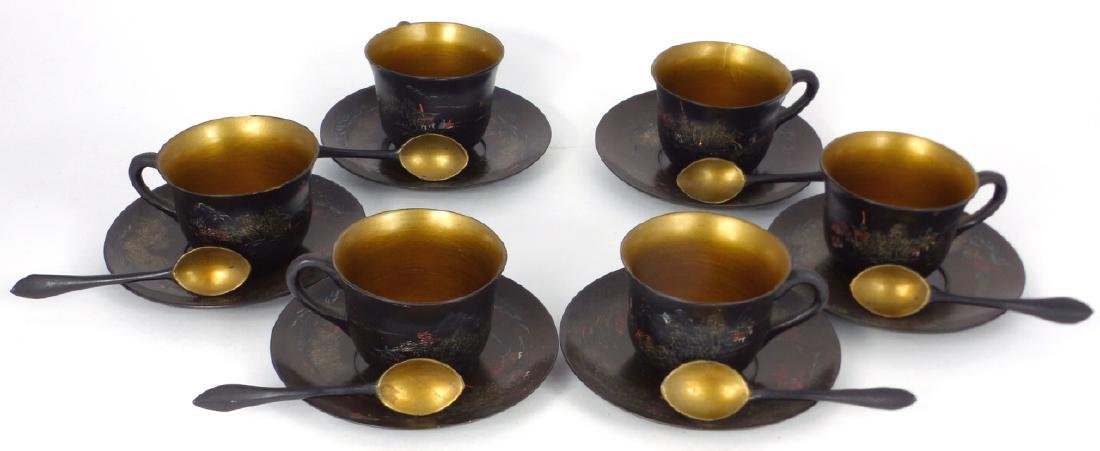 18pc CHINESE LACQUERWARE CUPS, SAUCERS & SPOONS