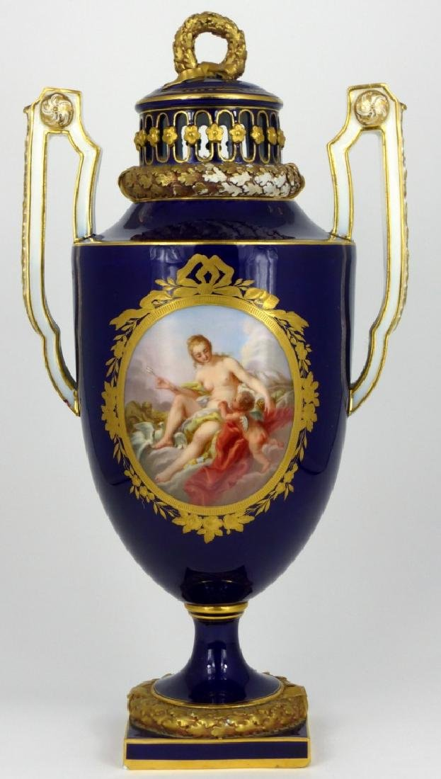 19th C MEISSEN COBALT & GILT PORCELAIN URN