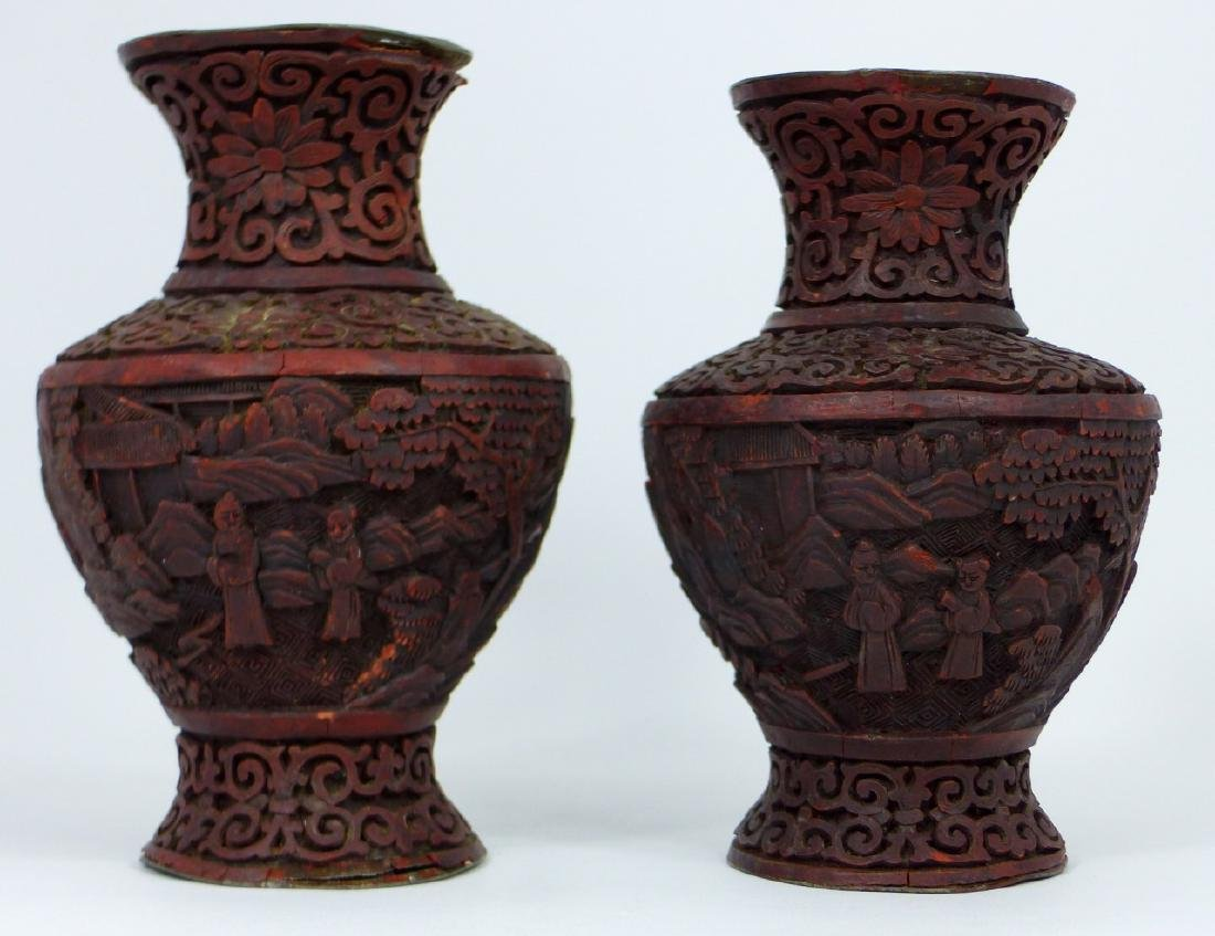 PR ANTIQUE CHINESE CINNABAR LACQUERED VASES