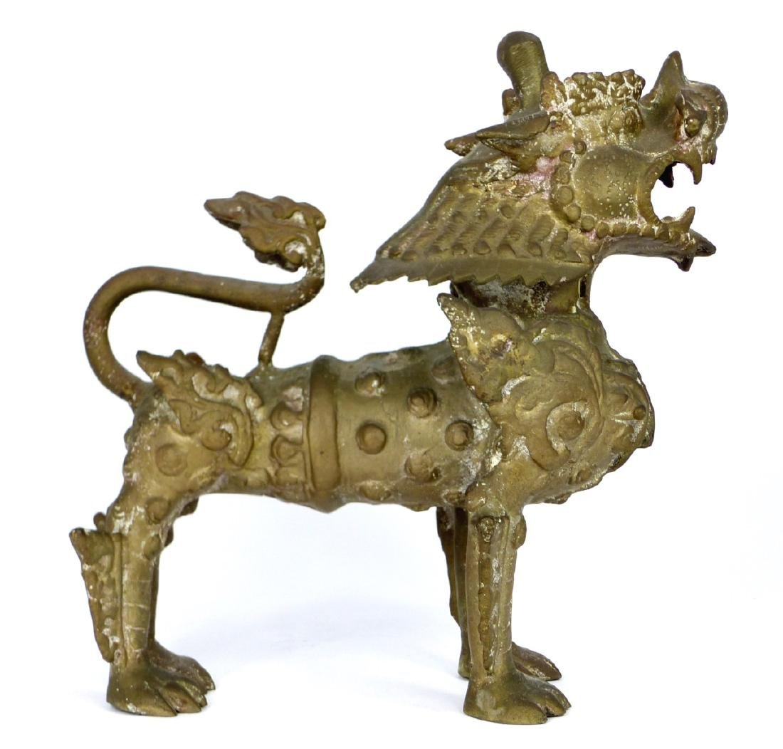 CHINESE VINTAGE BRASS QILIN
