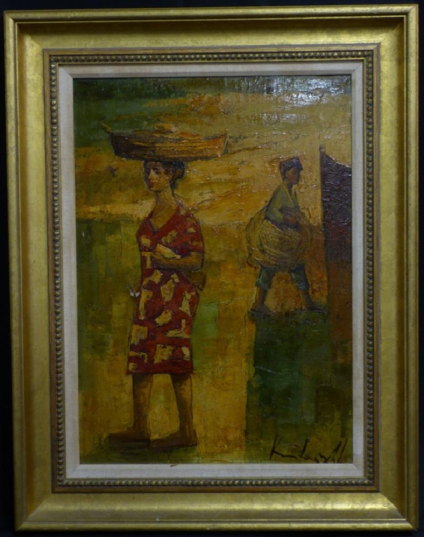 3pc OIL PAINTINGS FIGURES w BASKETS SIGNED