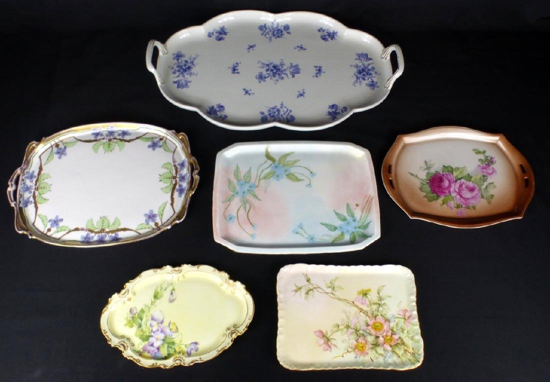 6pc PORCELAIN DRESSING TABLE TRAYS
