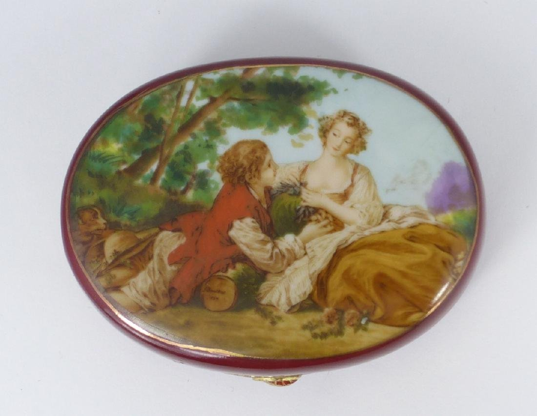 VINTAGE PORCELAIN TRINKET BOX AFTER BOUCHER