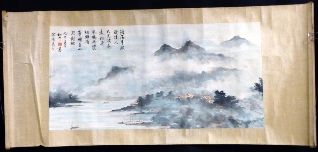 CHINESE SCROLL PAINTING SEASIDE VILLAGE