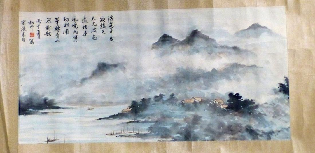 CHINESE SCROLL PAINTING SEASIDE VILLAGE - 2