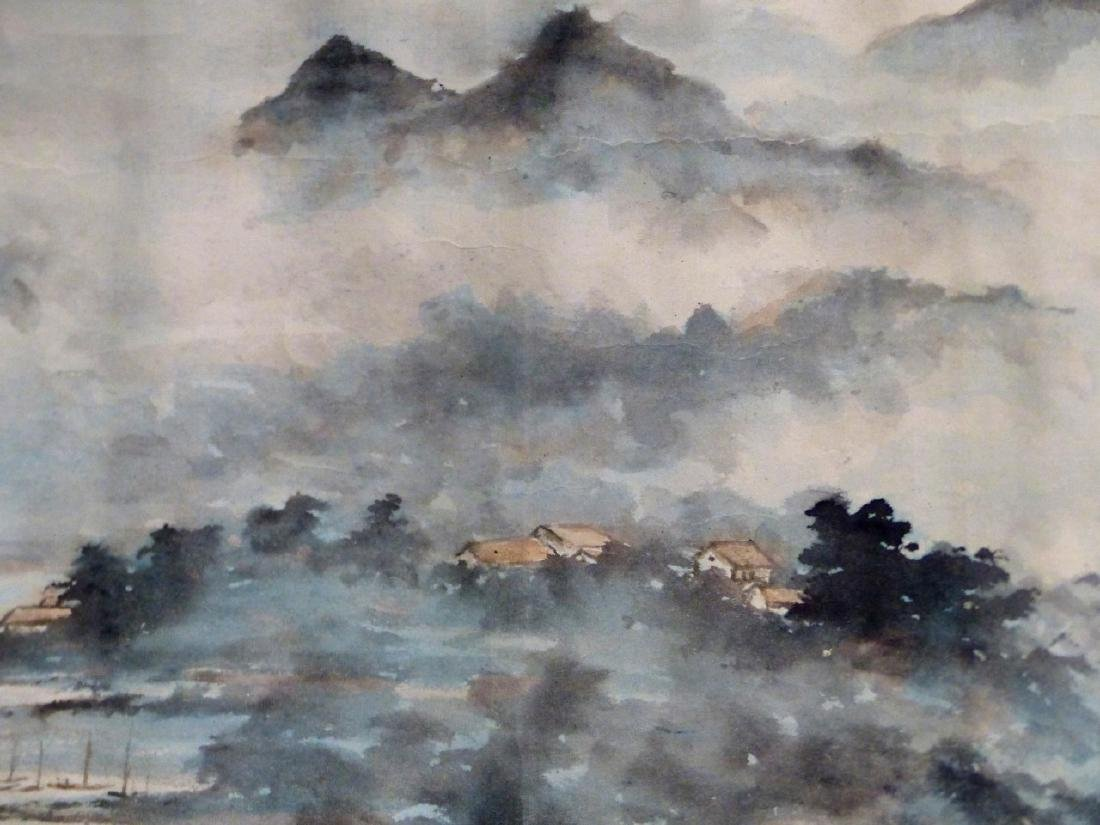 CHINESE SCROLL PAINTING SEASIDE VILLAGE - 4