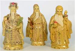 3pc CHINESE FAUX IVORY IMMORTAL FIGURES