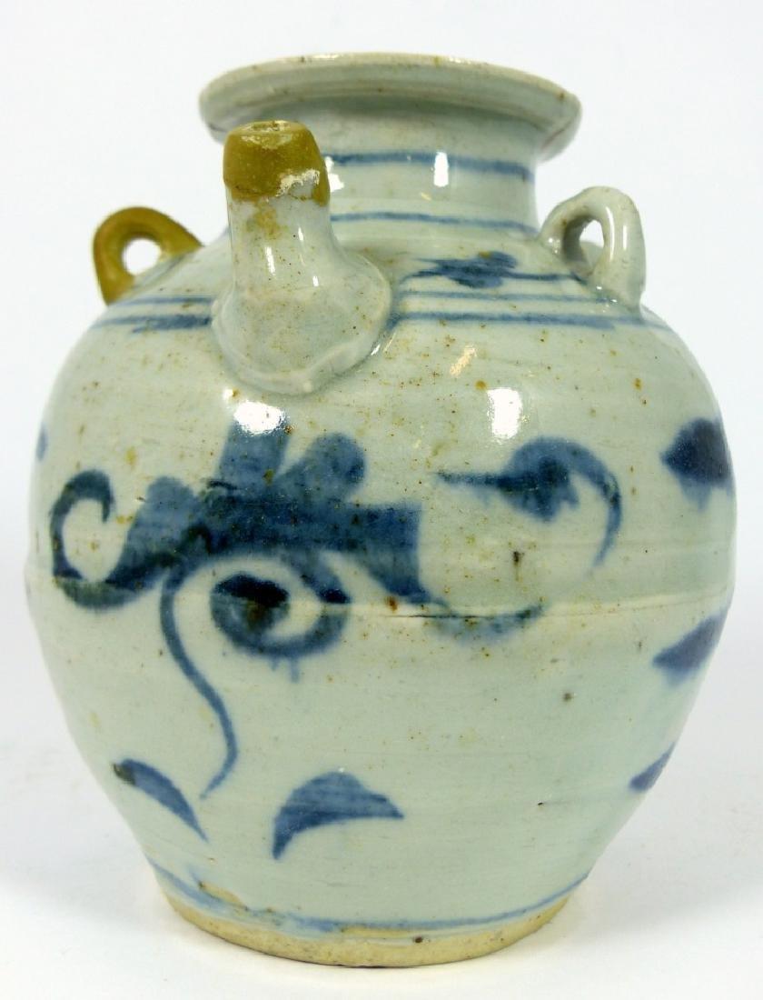 CHINESE MING STYLE BLUE & WHITE PORCELAIN VASE - 2