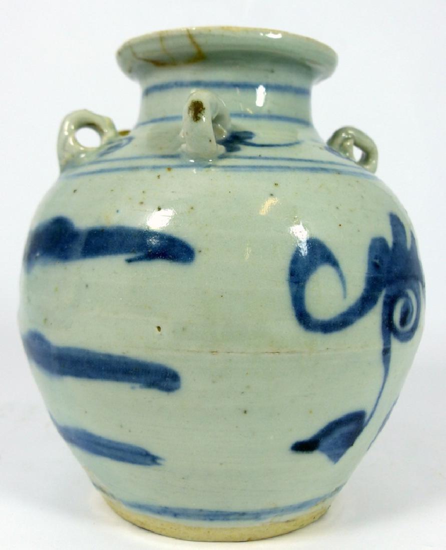 CHINESE MING STYLE BLUE & WHITE PORCELAIN VASE - 4