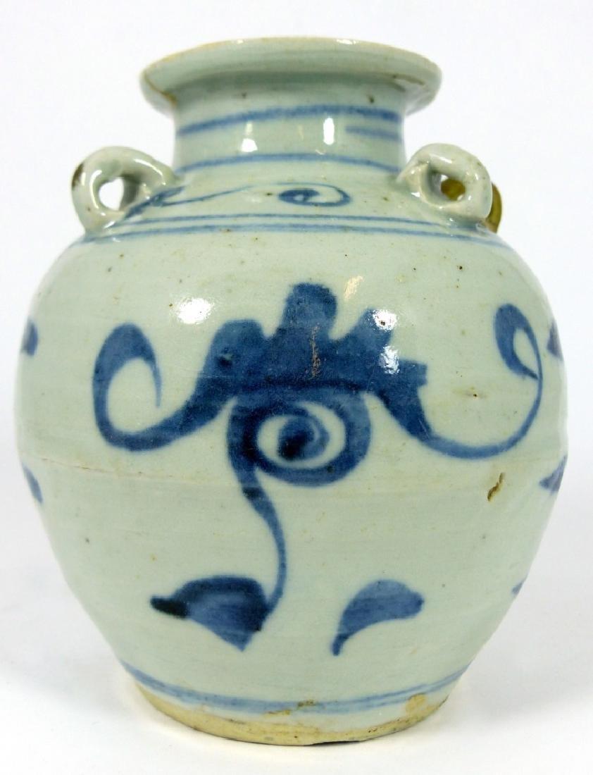 CHINESE MING STYLE BLUE & WHITE PORCELAIN VASE - 5