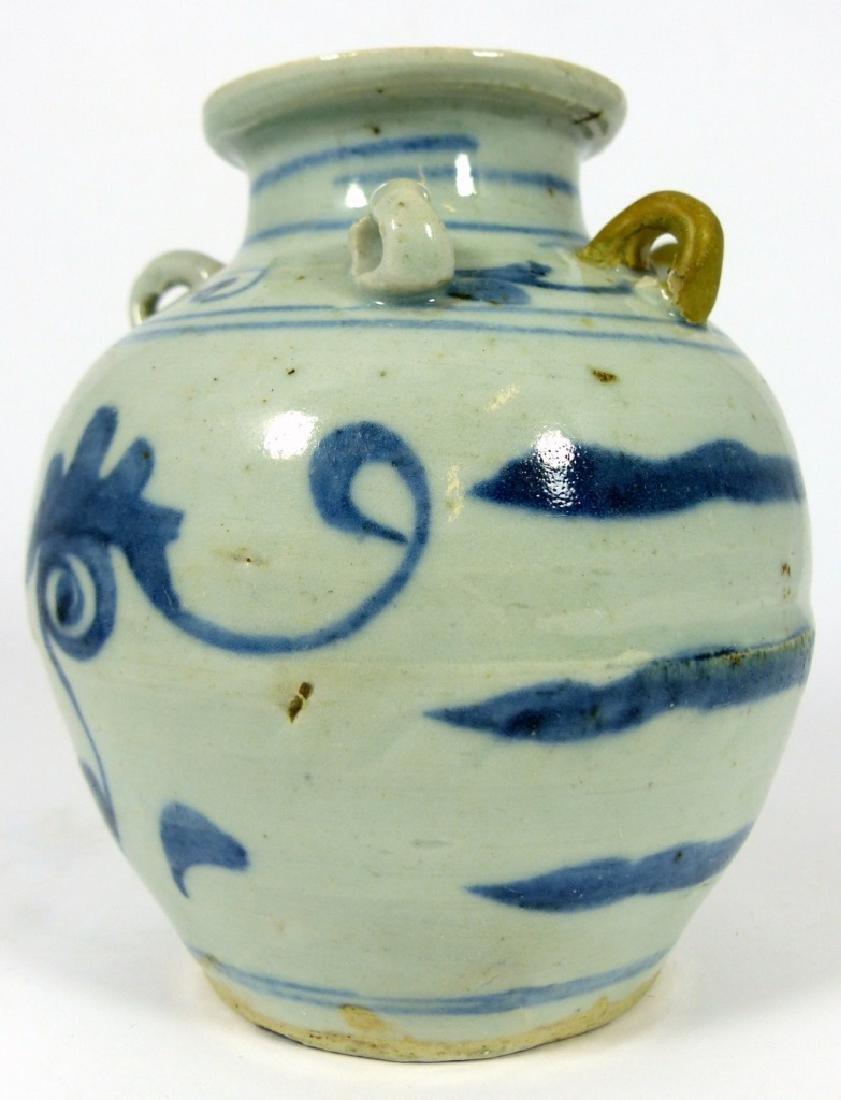 CHINESE MING STYLE BLUE & WHITE PORCELAIN VASE - 6