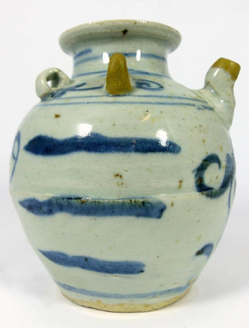 CHINESE MING STYLE BLUE & WHITE PORCELAIN VASE - 7