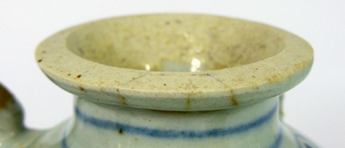 CHINESE MING STYLE BLUE & WHITE PORCELAIN VASE - 9