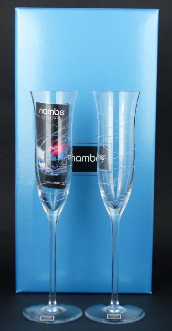 8pc NAMBE CRYSTAL CHAMPAGNE FLUTES w BOXES
