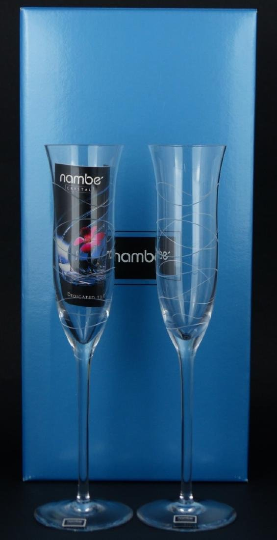 8pc NAMBE CRYSTAL CHAMPAGNE FLUTES w BOXES - 2