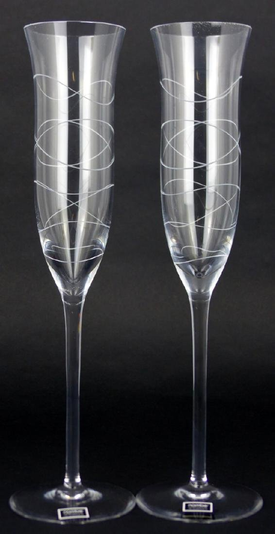 8pc NAMBE CRYSTAL CHAMPAGNE FLUTES w BOXES - 3