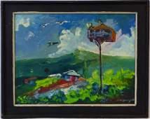 FRANKLIN M JOSEPH HAITIAN OIL PAINTING ON MASONITE