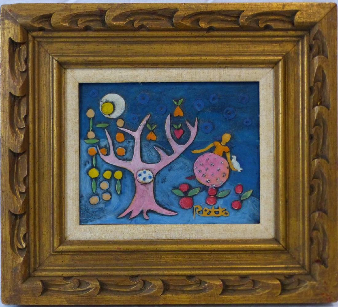 RETTO WHIMSICAL OIL PAINTING ON CARVED BOARD