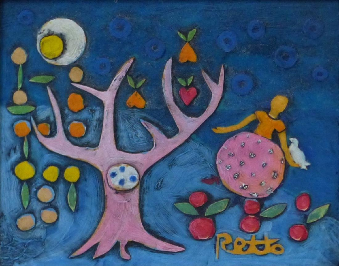 RETTO WHIMSICAL OIL PAINTING ON CARVED BOARD - 3