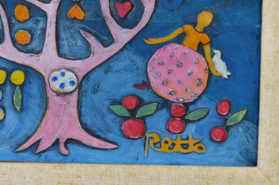 RETTO WHIMSICAL OIL PAINTING ON CARVED BOARD - 4