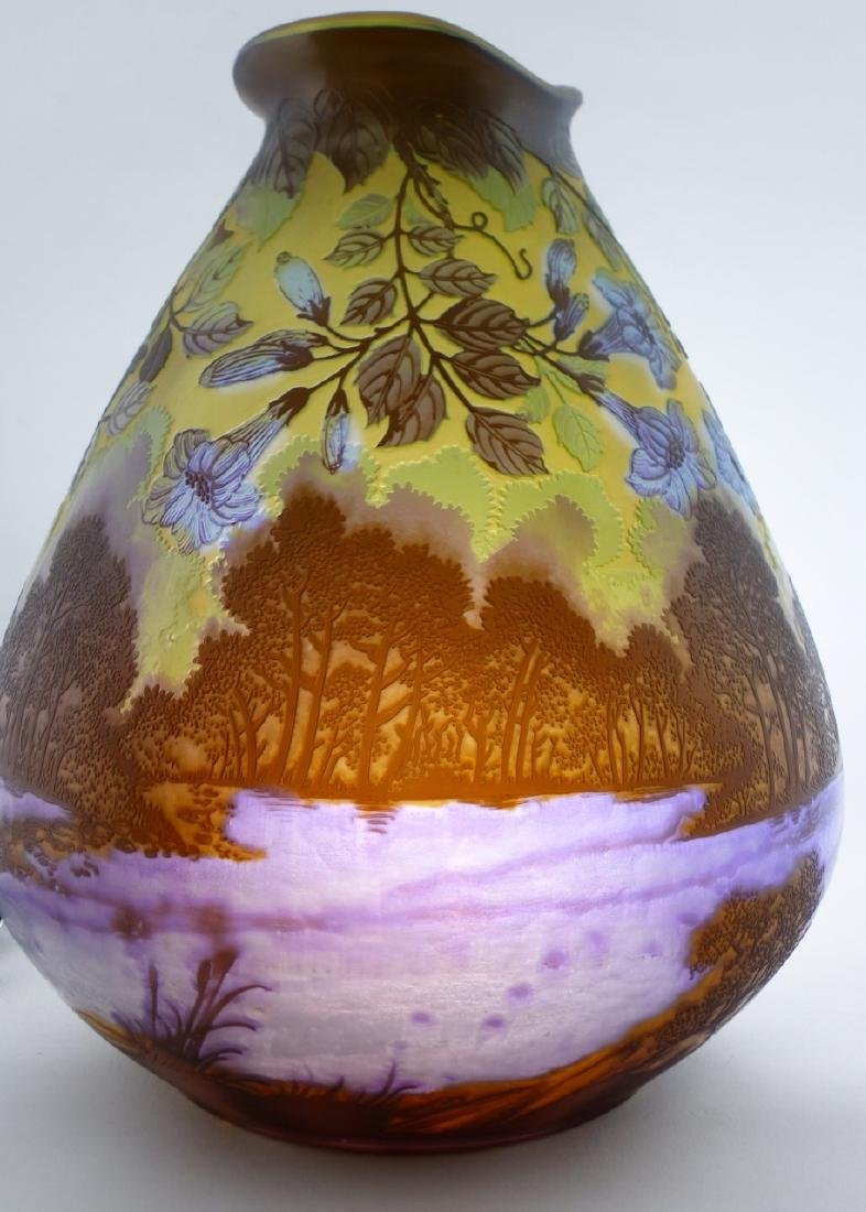 GALLE BLUE FLORAL CAMEO GLASS VASE - 11