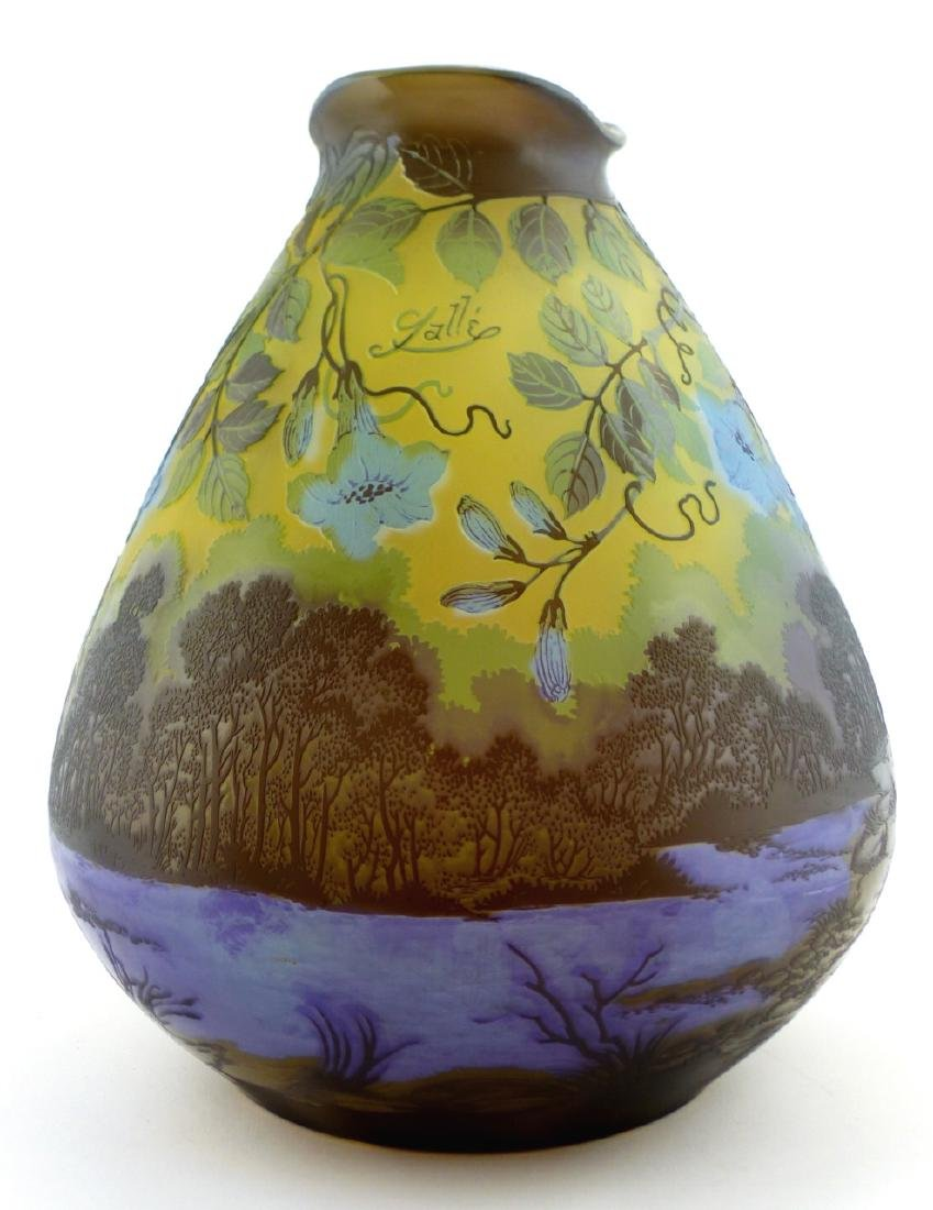 GALLE BLUE FLORAL CAMEO GLASS VASE