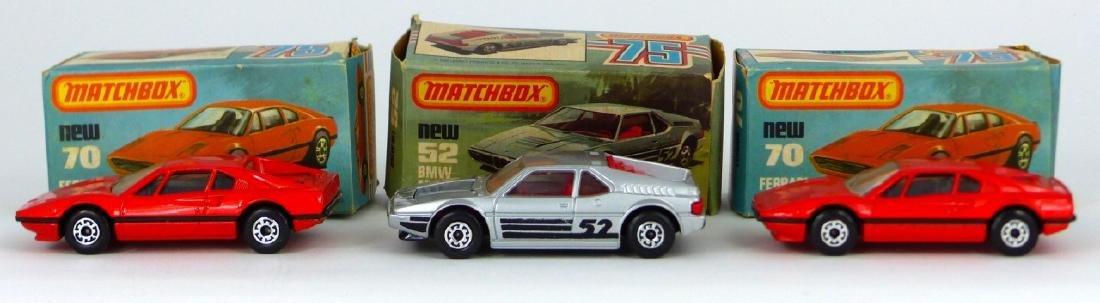 3pc MATCHBOX TOY CARS w BOXES FERRARI & BMW - 3