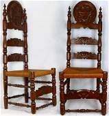 PR CARVED WOOD CHAIRS w RATTAN SEATS