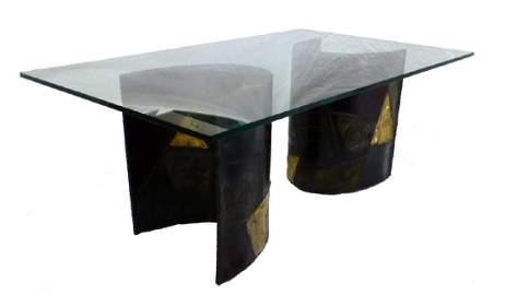 PAUL EVANS SCULPTED STEEL DINING TABLE PE 24