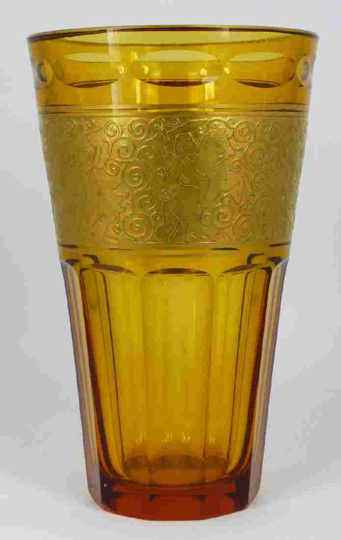 MOSER AMBER GLASS VASE w GOLD EMBOSSED BAND
