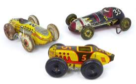 3pc WIND UP TOY TIN RACE CARS MARX & LINCOLN TOYS