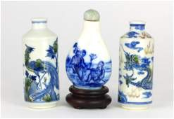 3pc CHINESE BLUE & WHITE PORCELAIN SNUFF BOTTLES
