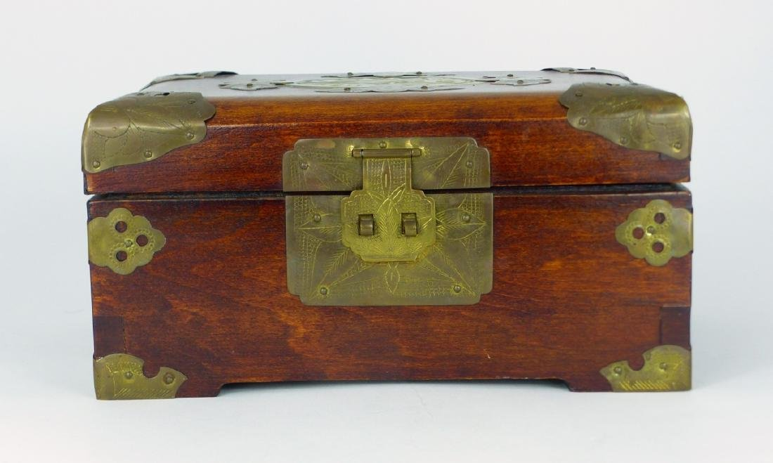 CHINESE WOOD JEWELRY BOX w JADE PLAQUE - 2
