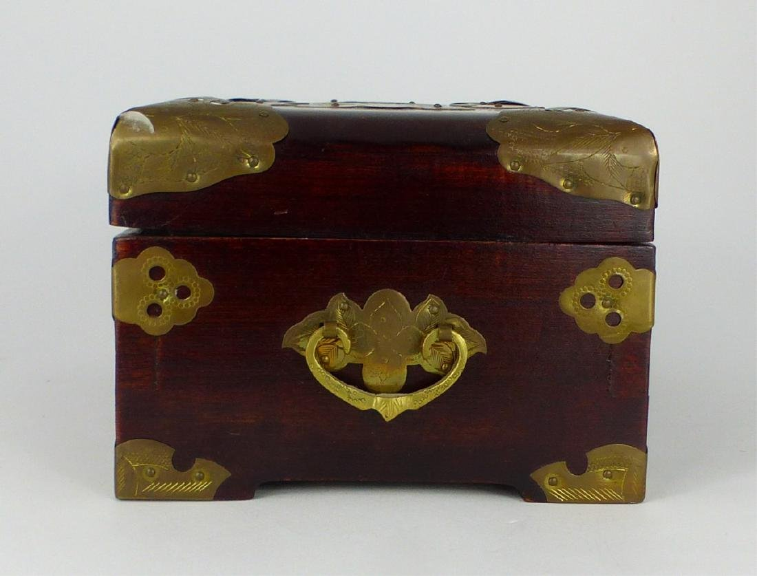 CHINESE WOOD JEWELRY BOX w JADE PLAQUE - 4