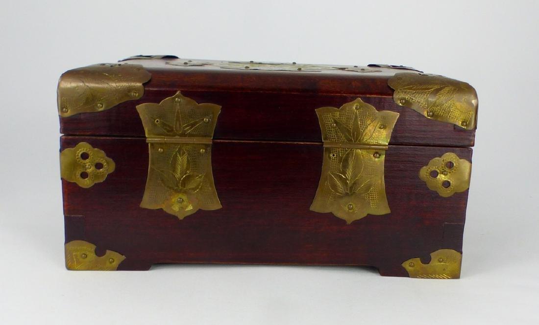 CHINESE WOOD JEWELRY BOX w JADE PLAQUE - 5